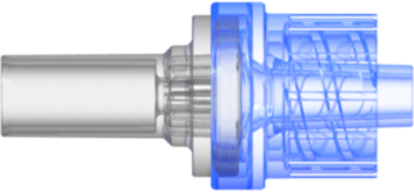 Check Valve Pocket for .161in (4.0 mm) OD Tubing to Male Locking Luer Cracking Pressure 2.176 – 3.626 psi flow rate max 170 ml/min Blue SAN and Clear MABS with Silicone Diaphragm