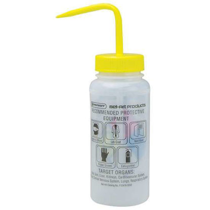 Bel-Art F12416-0002 GHS Labeled Safety-Vented Dichloromethane Wash Bottles, LDPE, 500 mL; Yellow Cap, 4/Pk