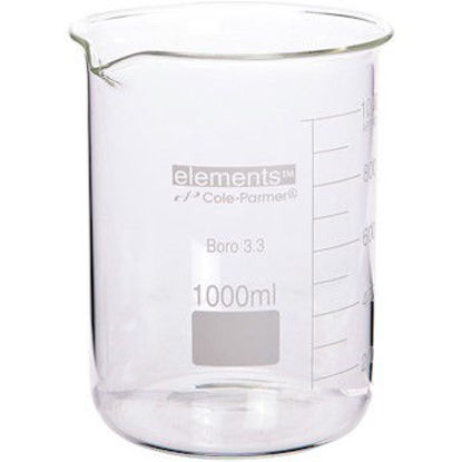 Cole-Parmer elements Low-Form Beaker, Glass, 1000 mL, 6/pk