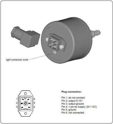 Vacuum gauge head VSP 3000 Pirani with signal output 0-10V, with plug at the housing