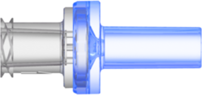 Check Valve Pocket for .161in (4.0 mm) OD Tubing to Female Locking Luer Cracking Pressure 2.176 – 3.626 psi flow rate max 170 ml/min Clear SAN and Blue MABS with Silicone Diaphragm