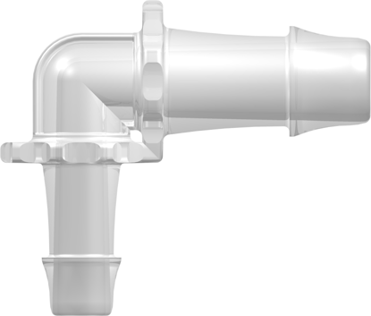 Elbow Reduction Tube Fitting with 500 Series Barbs 3/4in (19.0 mm) and 1/2in (12.7 mm) ID Tubing Animal-Free Natural Polypropylene