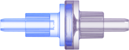 "Check Valve Autoclavable Socket for .122""; (3.1 mm) ID x .165""; (4.2 mm) OD Tubing x 2 Cracking Pressure <= .087 psig Flow Rate >= 150 ml/min Blue and Clear Polycarbonate w/Silicone Diaphragm"