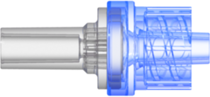"Check Valve Pocket for .122""; (3.1 mm) OD Tubing to Male Locking Luer Cracking Pressure 2.9 +/- 0.725 psig Flow Rate >= 150 ml/min Back Pressure 304.5 psi Clear-Transparent  MABS and Blue-Transparent SAN w/Silicone Diaphragm"