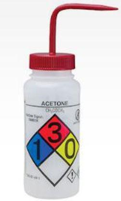 Bel-Art F12416-0001 GHS Labeled Safety-Vented Acetone Wash Bottles, LDPE, 500 mL; Red Cap, 4/Pk