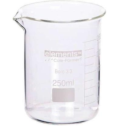 Cole-Parmer elements Low-Form Beaker, Glass, 200 mL, 12/pk