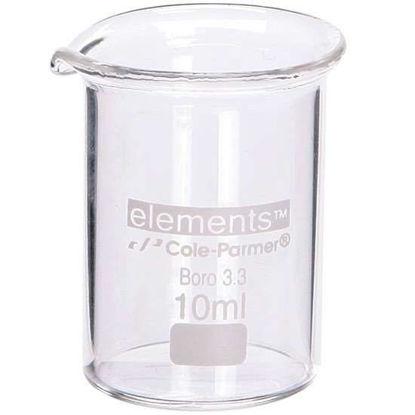 Cole-Parmer elements Low-Form Beaker, Glass, 10 mL, 12/pk