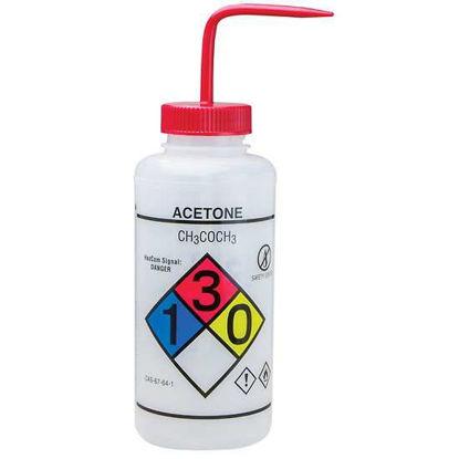 Bel-Art F12432-0001 GHS Labeled Safety-Vented Acetone Wash Bottles, LDPE, 1000 mL; Red Cap, 2/Pk