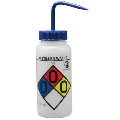 Bel-Art F12416-0004 GHS Labeled Safety-Vented Distilled Water Wash Bottles, LDPE, 500 mL; Blue Cap, 4/Pk