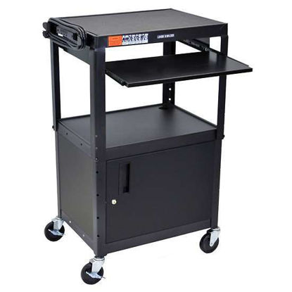 Luxor AVJ42KBC Adjustble Steel AV Cart Cabnet, Pullout, Black
