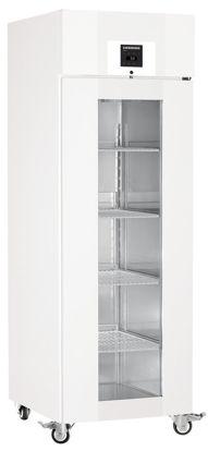 LKPv 6523 MediLine Laboratory Refrigerator with Profi Controller, Volume 601 L, Dynamic Cooling, Dimension 700 x 830 x 2150 mm, White Steel Cabinet Finish, Glass doors.