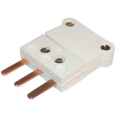 Digi-Sense RTD Connector, White 3-Blade ANSI, Male, 5/Pk