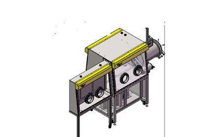 Single length, Double sides, 4-ports glovebox, flange on the right side, aligned to the front, including one gas purification systems without vacuum pump.
