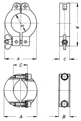 Clamping ring, aluminium, KF DN 50