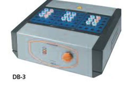 Analog block therm. 230 V, 10 mm tubes: Analog metal-block thermostat 230 V, RT to +100°C, for up to 60 sample tubes with 10 mm o. d., including two aluminium sample preparation blocks, convenient, liquid-free sample temperature conditionin