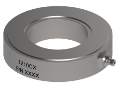 Model: 1210C6 - 4.05 pC/N sensitivity, 355.86 kN compression range, 10-32 radial connector, °2.6 mm thru hole mount, 168 grams,-51 to +204°C Operation