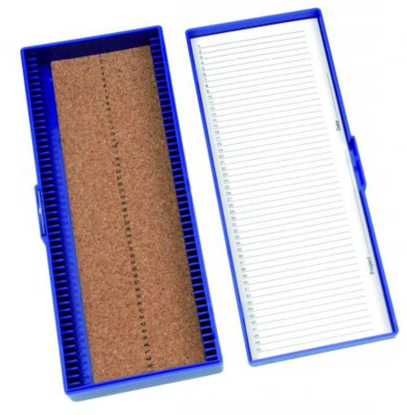 Microscope slide box, blue for 25 microlope slides 76x26 mm cork insert