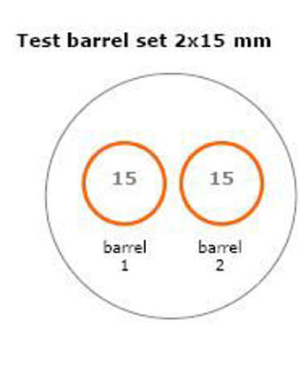 Test barrel set 2 x D = 15 mm corrosion resistant (Steel grade 3)