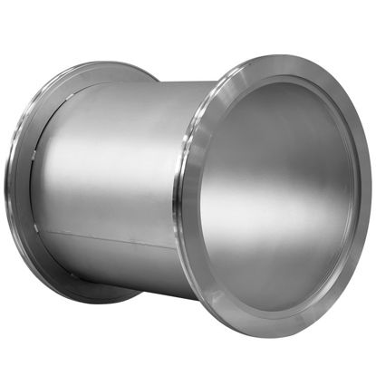 """P/N 8210052xxx, SPEC# L12002 """"A"""" = 12.00"""", NW320 Full Nipple (Claw Clamp Flanges), tube is seam welded rollup. OAL = 12"""", Material 304L Stainless steel, Tube finish Matte bead blast"""