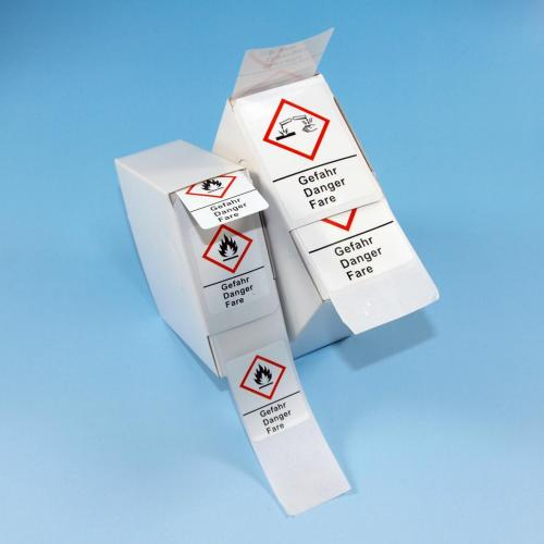 LLG-GHS Warning Labels, Self-Adhesive, Roll in Dispenser Box