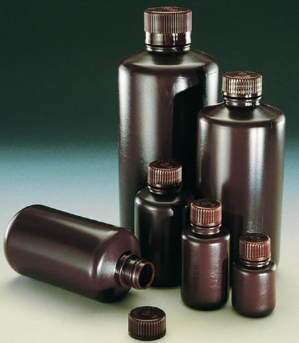 Narrow-mouth bottles Economy, HDPE, with screw cap, PP, brown