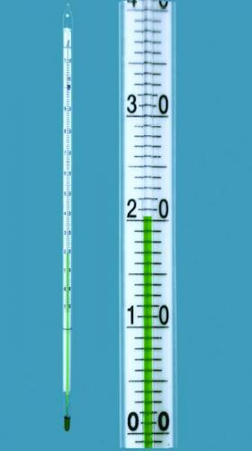 General purpose thermometer, enclosed-scale type, green filling