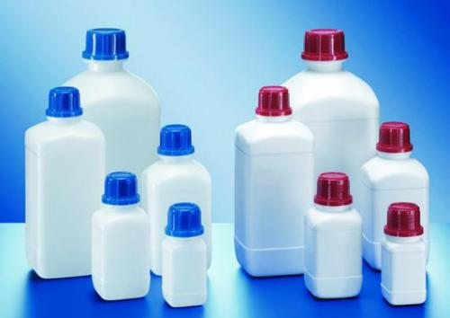 Square reagent bottles, HDPE