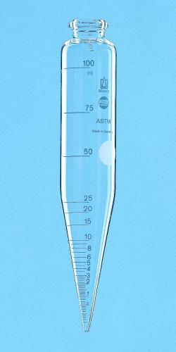 ASTM centrifuge tube, cylindrical, with conical base, borosilicate glass 3.3