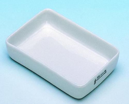 Incinerating dishes, porcelain, rectangular
