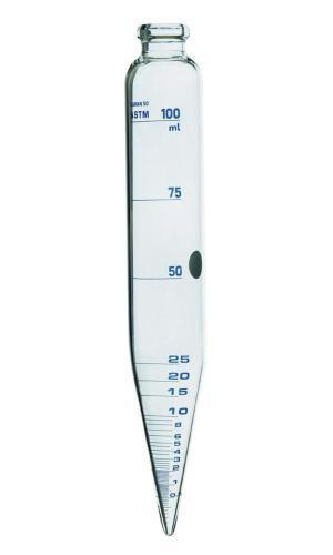 ASTM centrifuge tube, cylindrical, with conical base, borosilicate glass 3.3