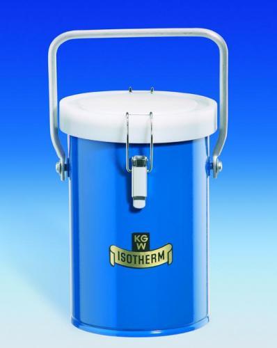 Dewar carrying flasks, cylindrical, for CO<SUB>2</SUB> and LN<SUB>2</SUB>